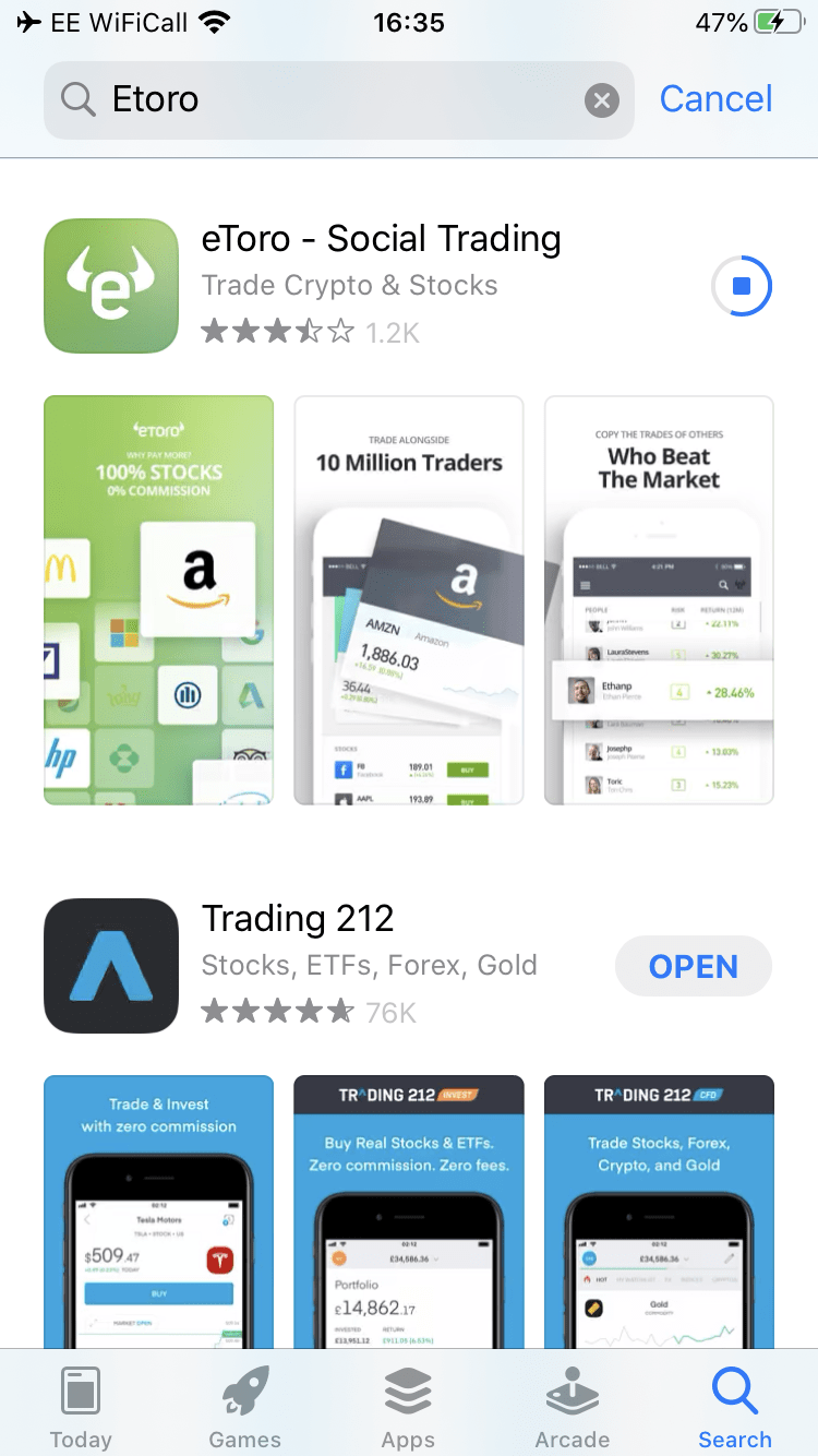 eToro penny stock app download