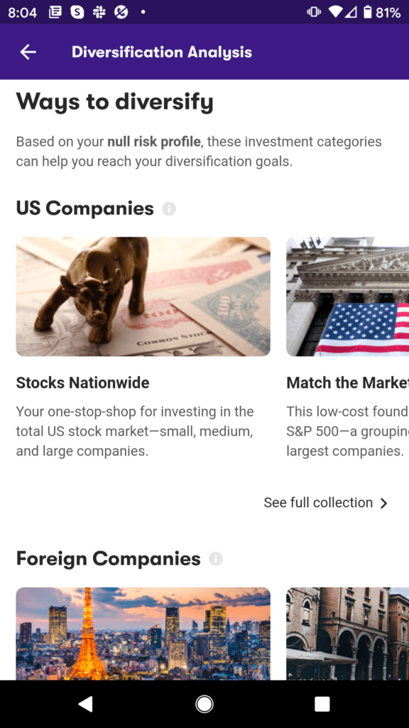 Tools available on an investment app