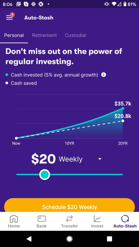 Stash app auto invest