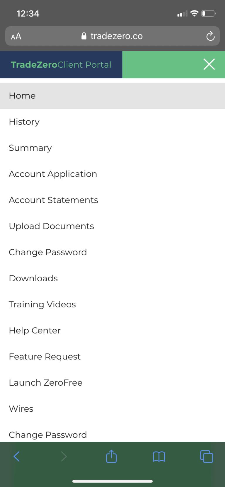 TradeZero Client Portal app