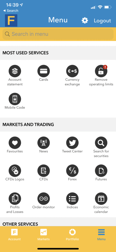 fineco stock app - market and trading section