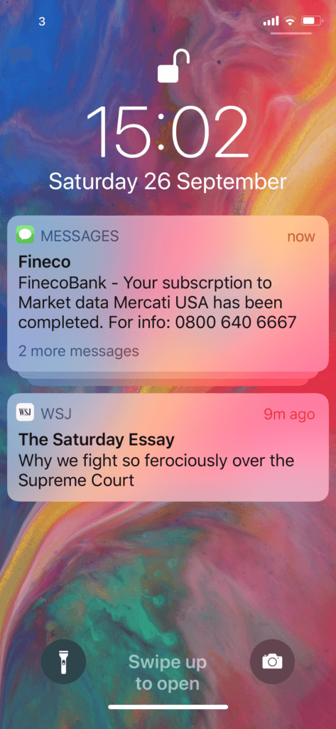 fineco stock app SMS protection