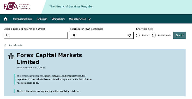 Forex Capital Markets Limited FCA