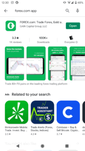 Forex.com app on the Google Play Store