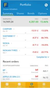 fineco stock app portolio section