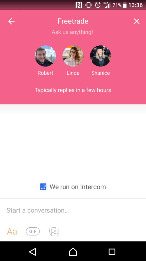 Freetrade live chat