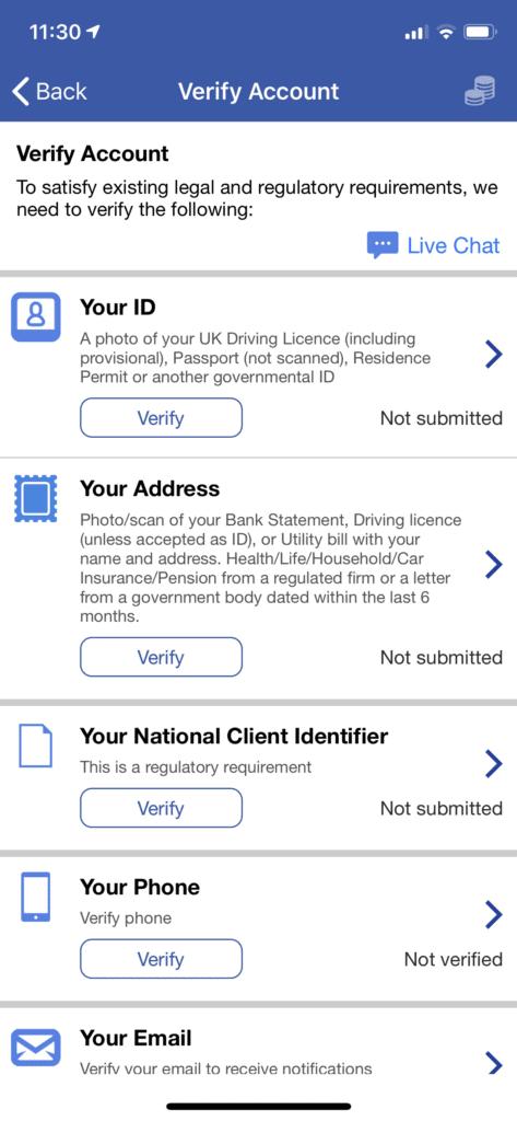 plus500 verify app section