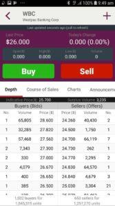 Westpac Stock App - Market Depth