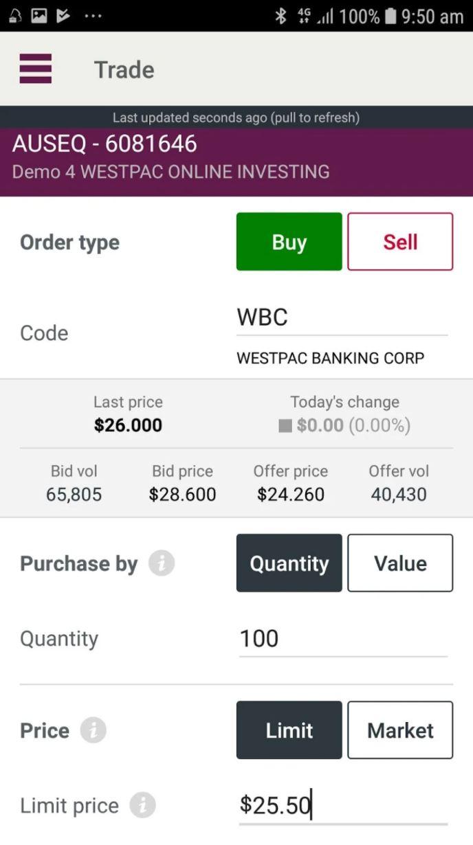 Westpac Stock App - Order Types