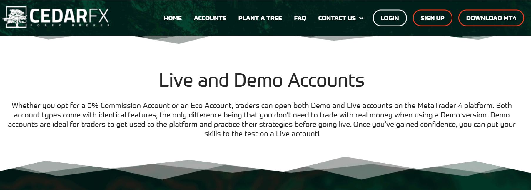 cedarfx demo account