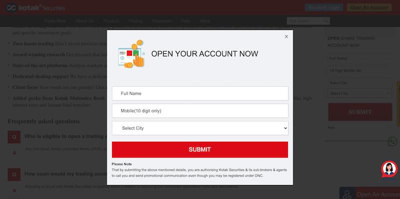Kotak open an account