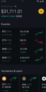 Binance App Dashboard