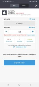 Buy Apple with eToro App