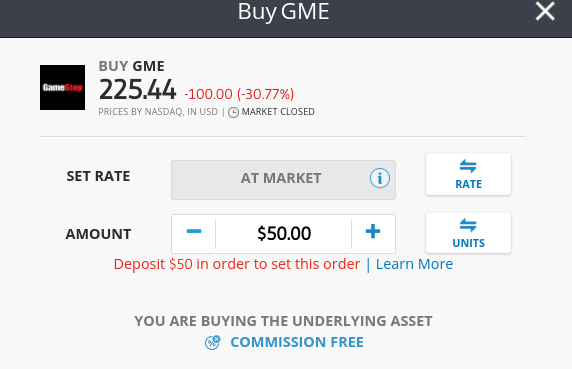 buy GameStop shares on eToro