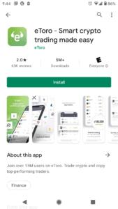 Install eToro app from Google Play