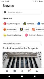 Robinhood App Discover Lists