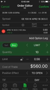Thinkorswim App Order Entry