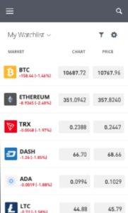 eToro App Crypto Watchlist