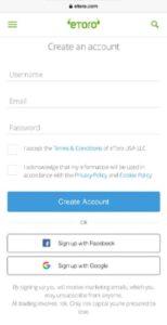 eToro Create Account on Mobile mutual fund App