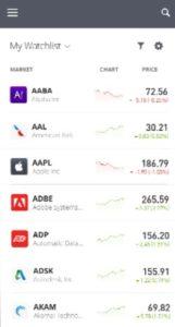 eToro Search on Mobile App
