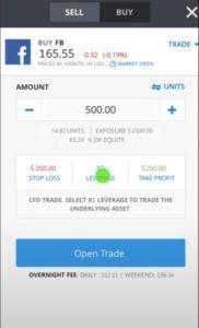 Buy Facebook eToro app