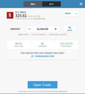 eToro app Buy Netflix