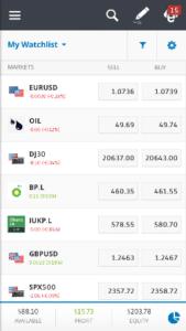 eToro Commodities Mobile App