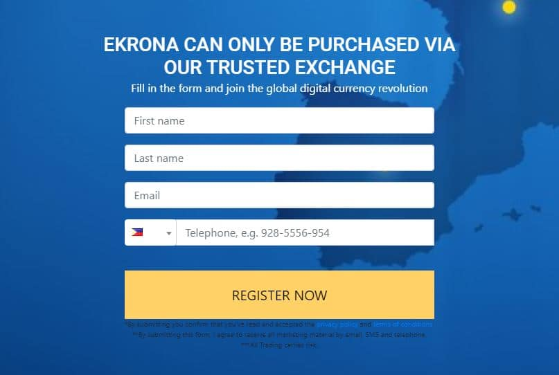 Ekrona Cryptocurrency Registration